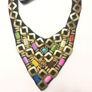Fabric Beaded Triangle Bib Necklace